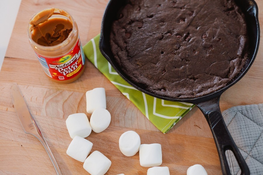 #SmoresWeek Dark Chocolate Peanut Butter Smores Skillet Cookie by Fresh Mommy Blog-6