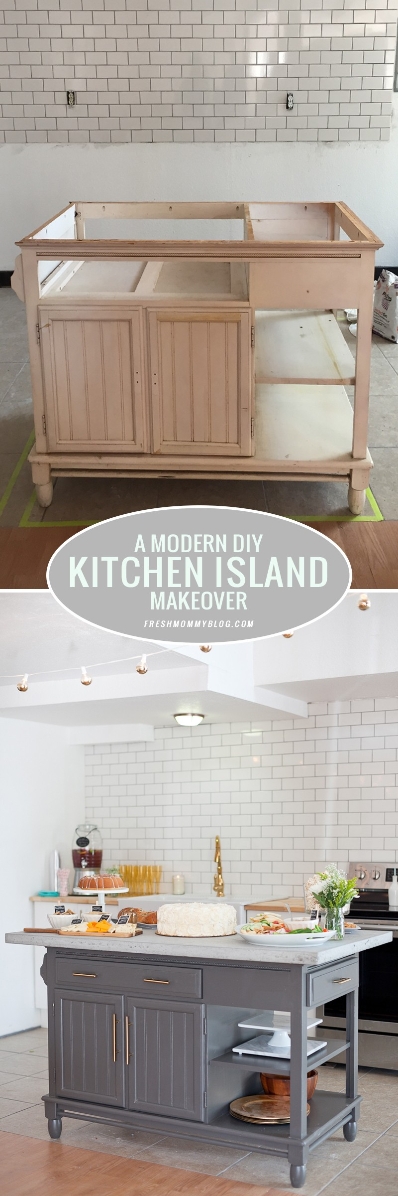 A Modern DIY Kitchen Island Makeover Before and After