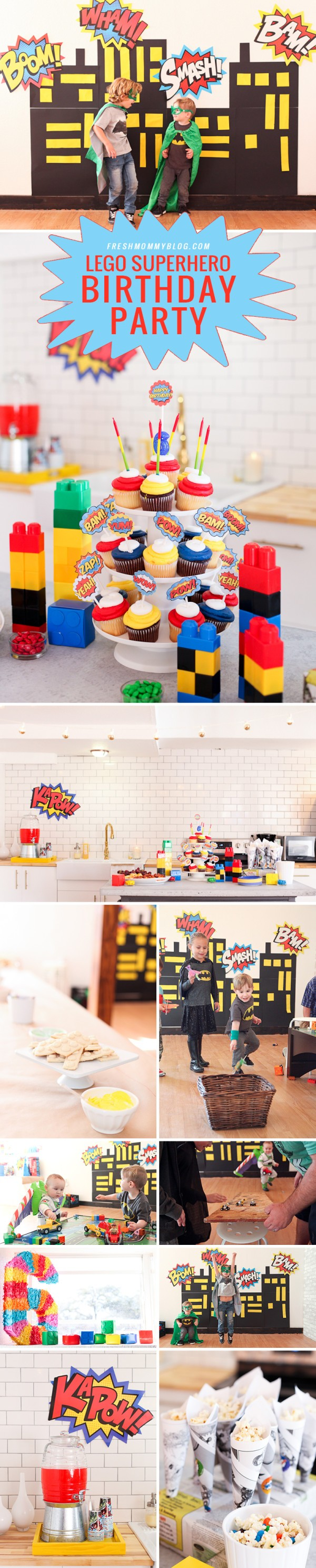 A bright and colorful Lego Superhero Birthday Party, with video games too!