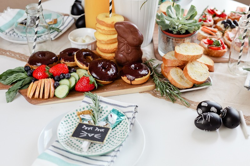 Simply Delicious Easter Crostini Brunch with donuts and Ghiradelli chocolate!