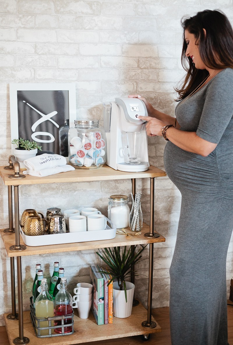 DIY Coffee Bar Cart, a rustic take on the classic bar cart, build it yourself and use it for coffee! Full DIY bar cart tutorial by popular florida lifestyle blogger Tabitha Blue of Fresh Mommy Blog.