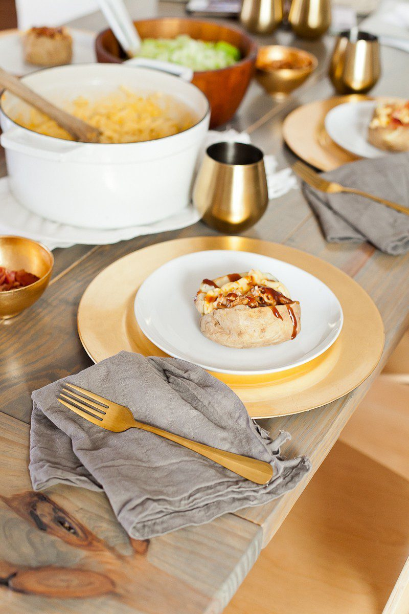 Mac and Cheese in Baked Potato Bowls. Top with BBQ chicken or bacon for a delicious twist on a classic meal.