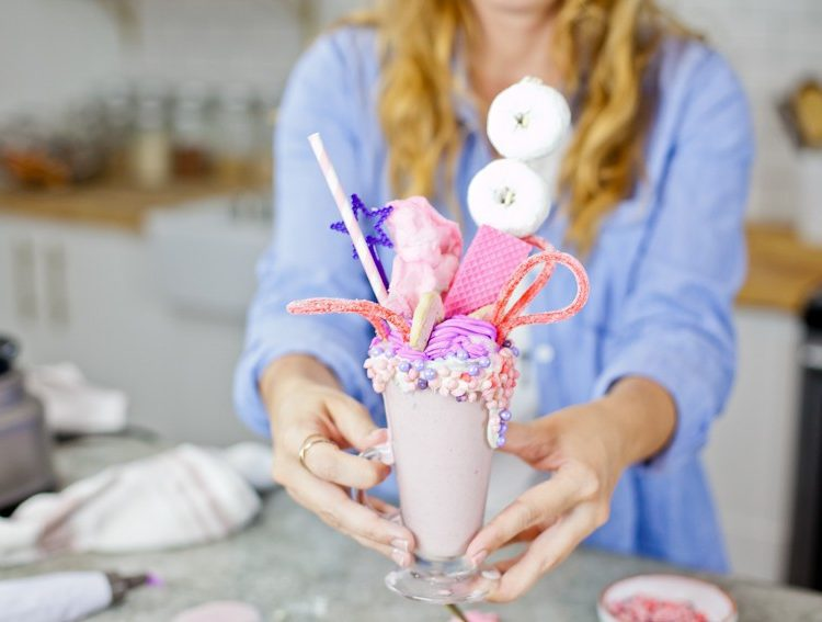 Epic Royal Crazy Shakes fit for a princess... or prince. Make your own freak shake in this pink and purple cotton candy freak shake milk shake recipe. | Tabitha Blue, Fresh Mommy Blog