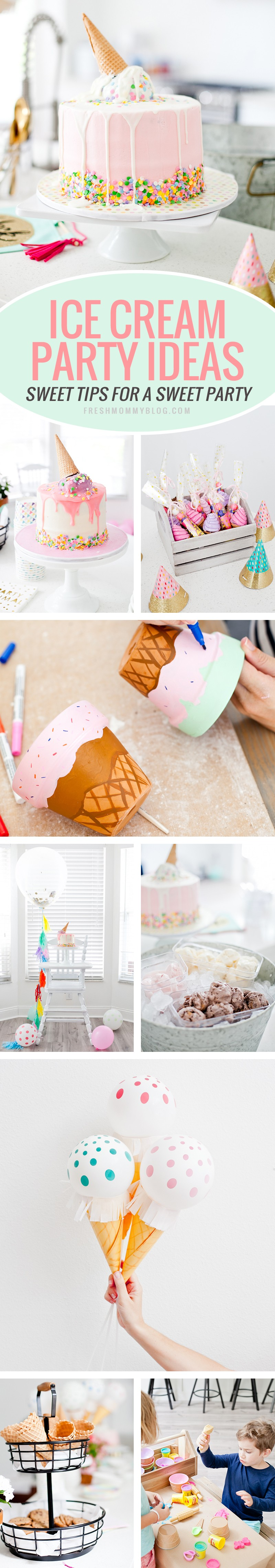 """Ice Cream Party Ideas for an Ice Cream Social Birthday Party with DIY Ice Cream Balloons, and ice cream cone """"spilled"""" cake, Ice Cream bar with cookies for DIY ice cream cookies and more! Decorations, kids party, girls party tips from lifestyle blogger Tabitha Blue of Fresh Mommy Blog! #party #icecream #partydecor #partyideas"""