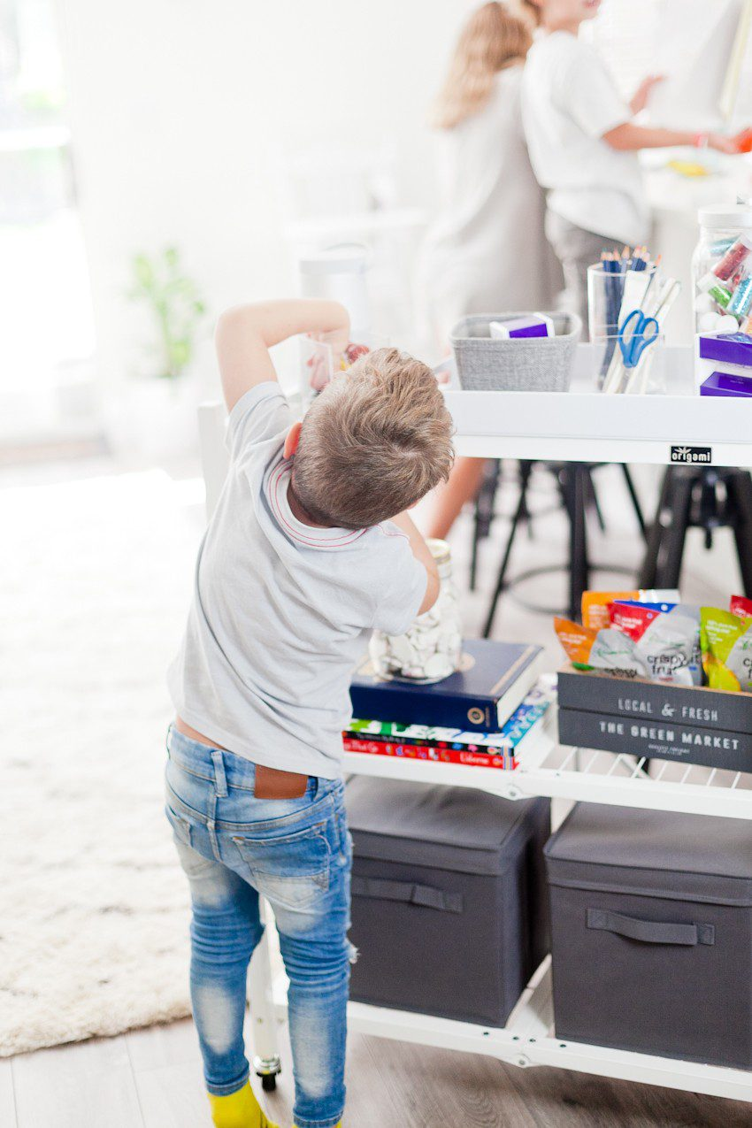 How to Get Ready for School: 5 Sensational Strategies to Make Easy on your Family by popular Tampa life and style blog, Fresh Mommy: image of a young boy grabbing supplies off of a homework cart.