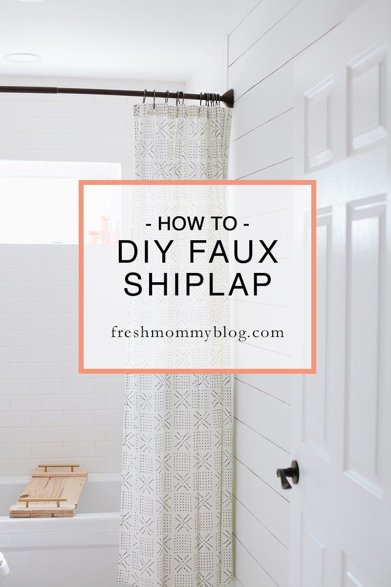 How to create DIY faux shiplap walls on the cheap. A bright white bathroom remodel update with DIY shiplap walls on a budget.