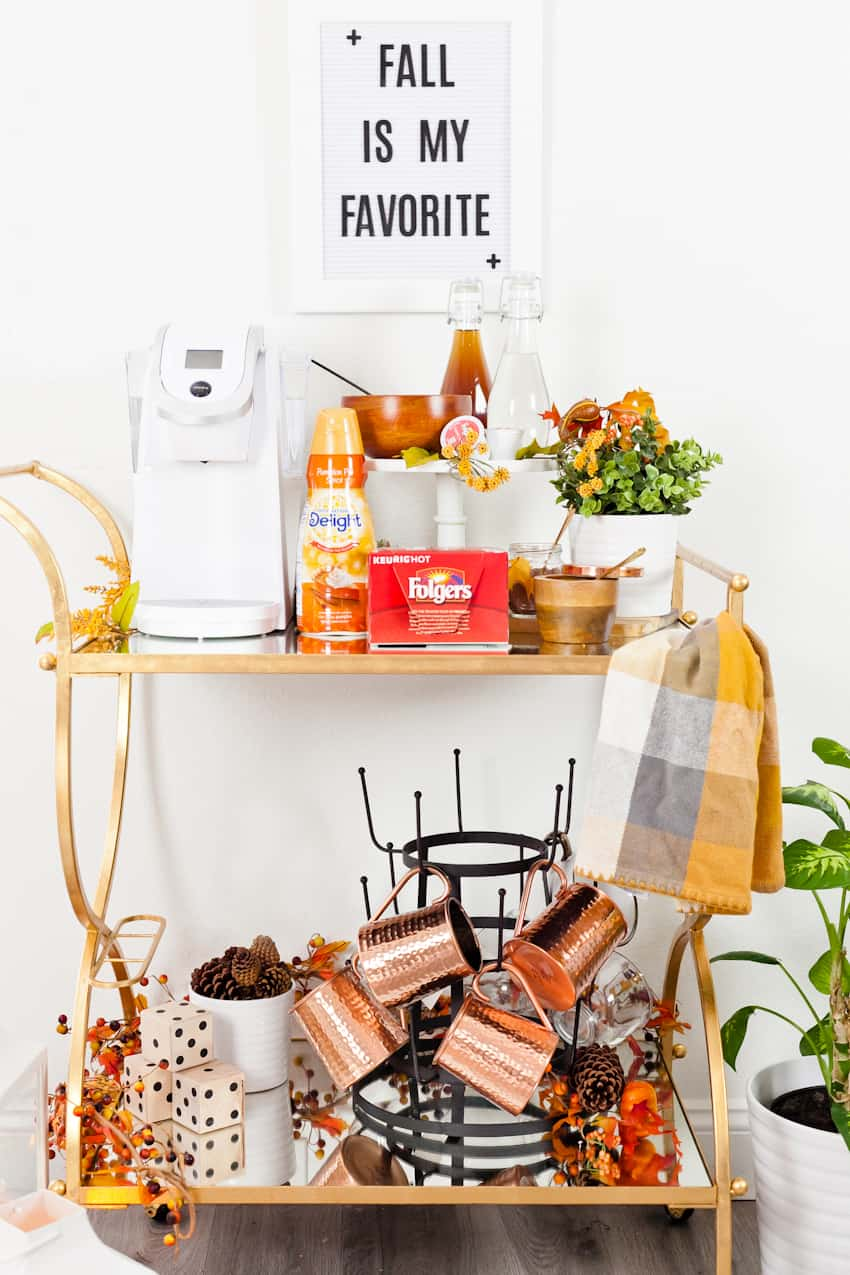 A Fall Coffee Bar Cart with Two Delicious Fall Coffee Recipes