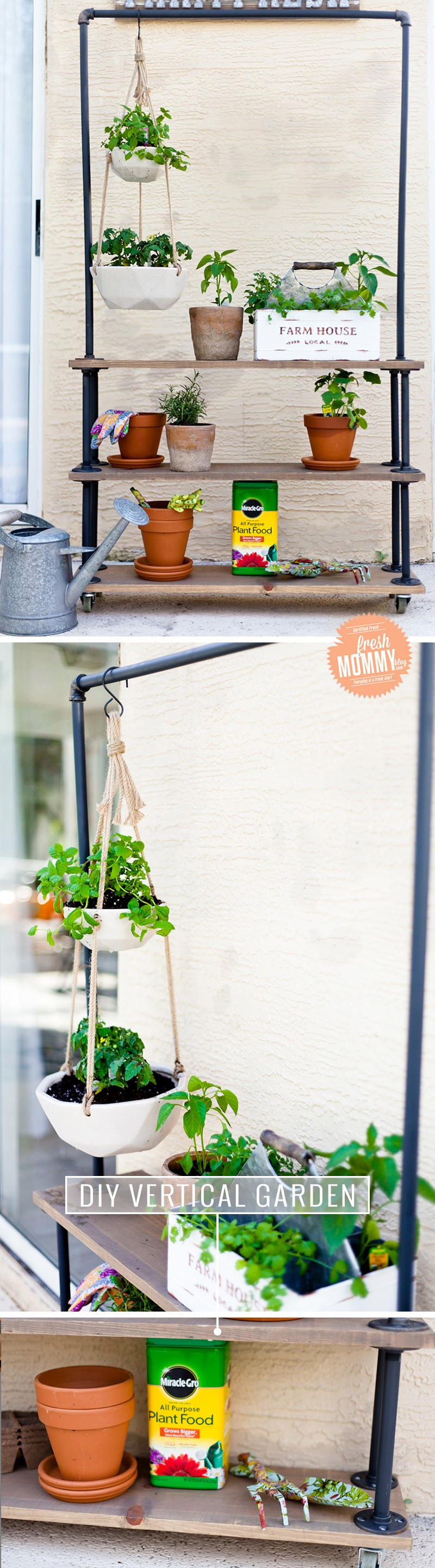 Make Your Own DIY Rolling Vertical Garden and Plant Shelf by popular South Florida lifestyle blogger Fresh Mommy Blog