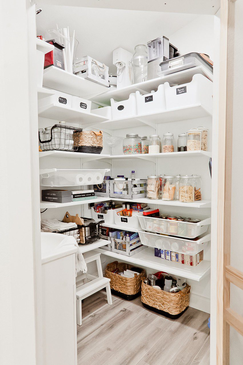 6 Essential Things to Consider Before Buying a Home | Family Meal Planning by popular Florida lifestyle blog, Fresh Mommy Blog: Pinterest image of a organized kitchen pantry.