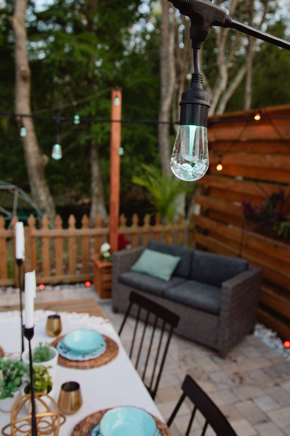 DIY Outdoor Planter Box for Hanging String Lighting featured by top US Home DIY blog, Fresh Mommy Blog