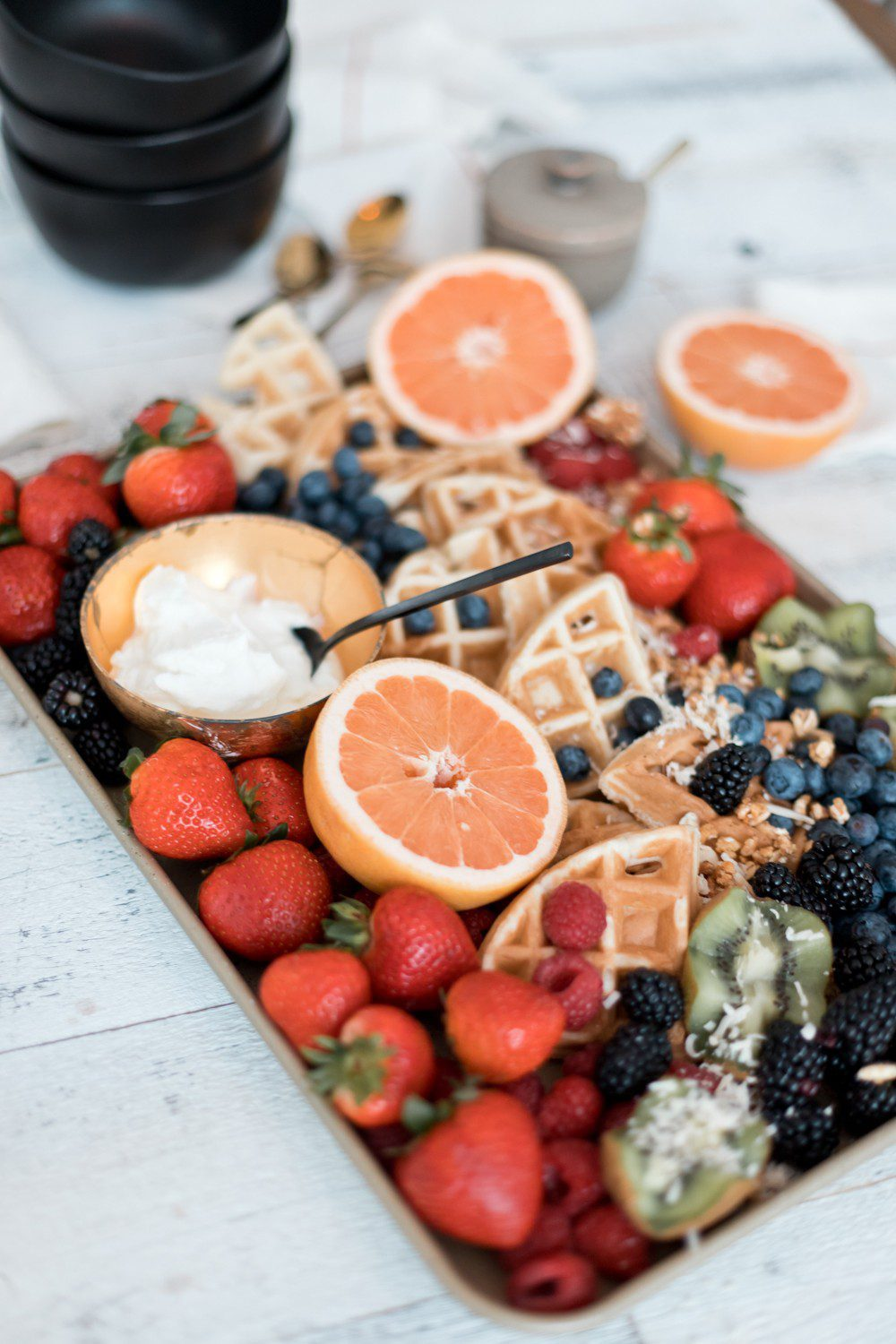 Easy DIY Yogurt Parfait Bar with Greek Yogurt Protein for Kids that they'll love! Dining room, styling and breakfast tray by top US lifestyle blogger Tabitha Blue of Fresh Mommy Blog