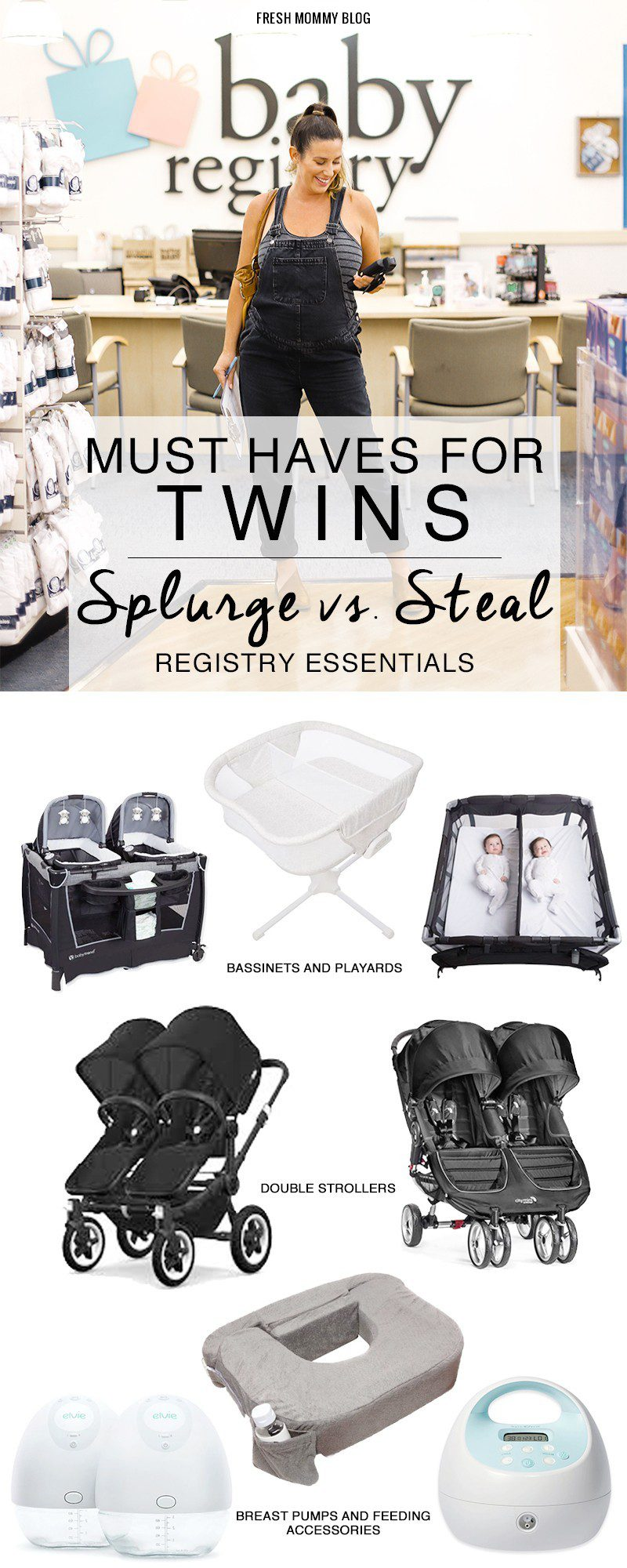 Useful Twin Products and Must Haves for Twins! Our Twin Registry Essentials - Splurge vs Steal by top US lifestyle blogger, Tabitha Blue of Fresh Mommy Blog