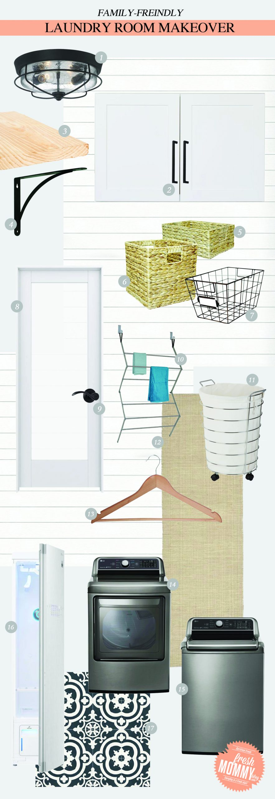 Laundry Room Makeover Ideas! Design plans and ideas for creating a family friendly laundry room by popular Florida lifestyle and home DIY blogger Tabitha Blue of Fresh Mommy Blog