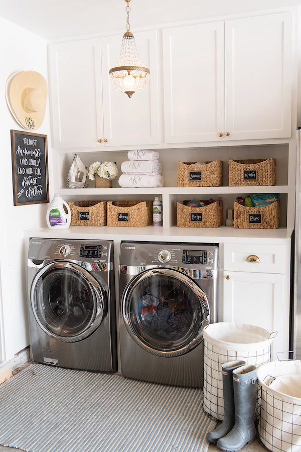 Laundry Room Makeover Ideas! Design plans and ideas for creating a family friendly laundry room. | Contemporary Laundry Room Ideas: A Light + Modern Design Plan by popular Florida lifestyle blog, Fresh Mommy: image of a remodeled laundry room with wire laundry baskets, front loading washer and dryer, white cabinets,and woven storage baskets.