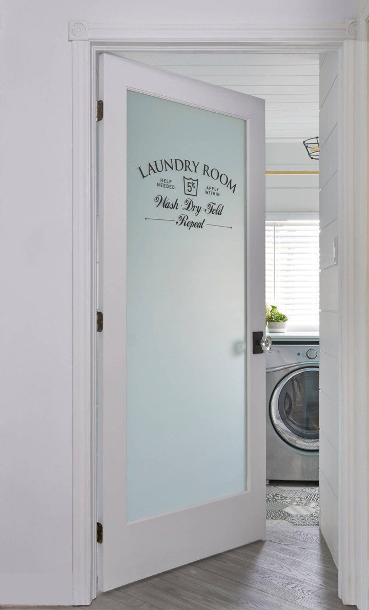 Laundry Room Makeover Ideas! Design plans and ideas for creating a family friendly laundry room. | Contemporary Laundry Room Ideas: A Light + Modern Design Plan by popular Florida lifestyle blog, Fresh Mommy: image of a frosted glass door.