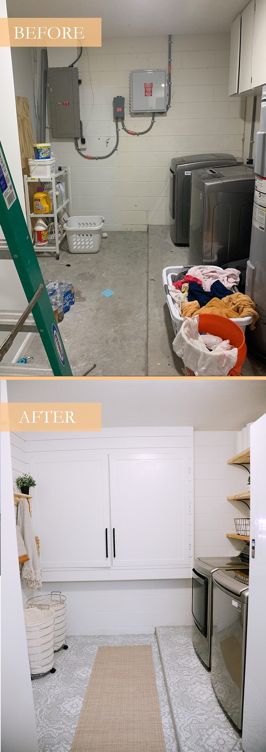 How We Designed a Family Friendly Laundry Room in our Garage - The Reveal! | Laundry Room DIY: How to Paint a Cement Floor with Stencils by popular home decor blog, Fresh Mommy: before and after images of a laundry room remodel.