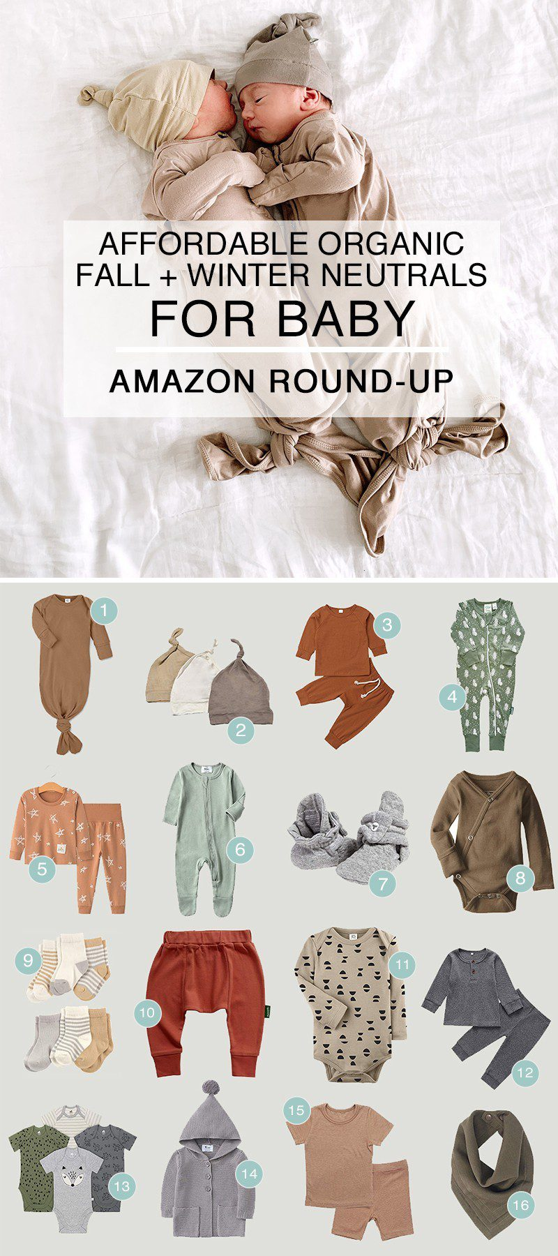 Amazon Round Up - Affordable Organic Fall + Winter Neutrals for Baby from popular Florida lifestyle blogger Tabitha Blue of Fresh Mommy Blog | Neutral Amazon Winter Baby Clothes by popular Florida life and style blog, Fresh Mommy: image of two new born twin lying next to each other and wearing neutral sleepers and beanies.