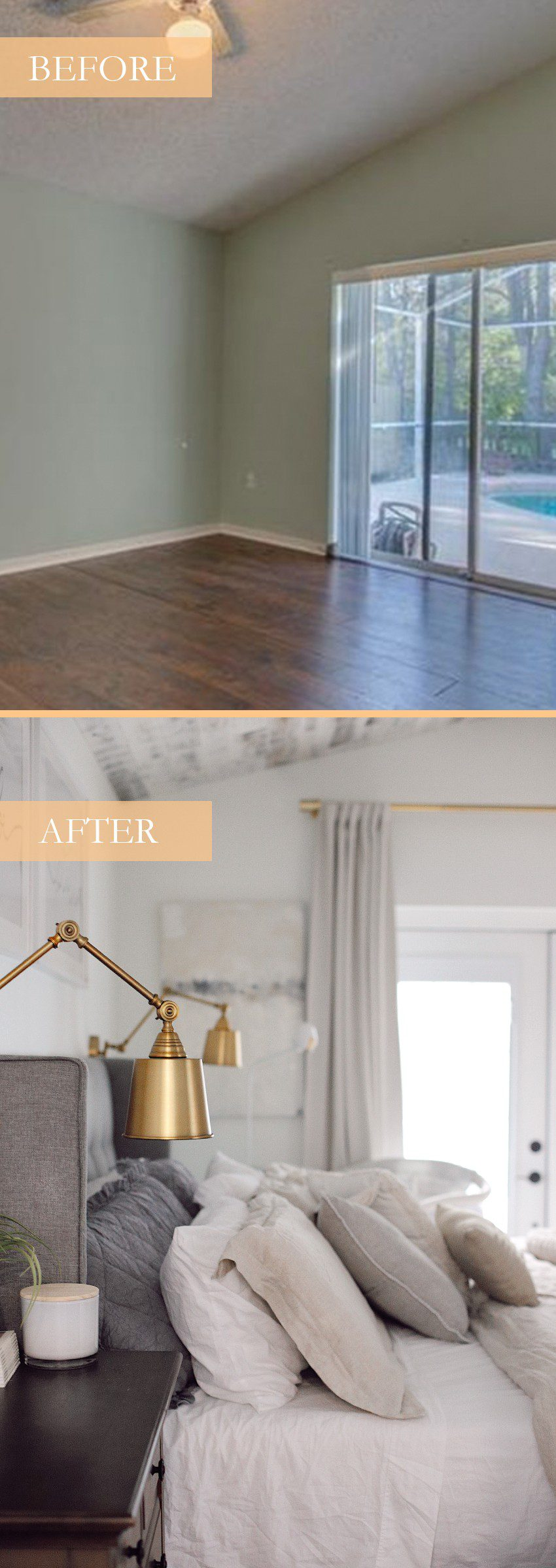 BEFORE AND AFTER! Creating a cozy, dream bed oasis. Shopping throw pillows and bedding at Belk. | Best Bedding by popular Florida life and style blog, Fresh Mommy: before and after image of a bedroom