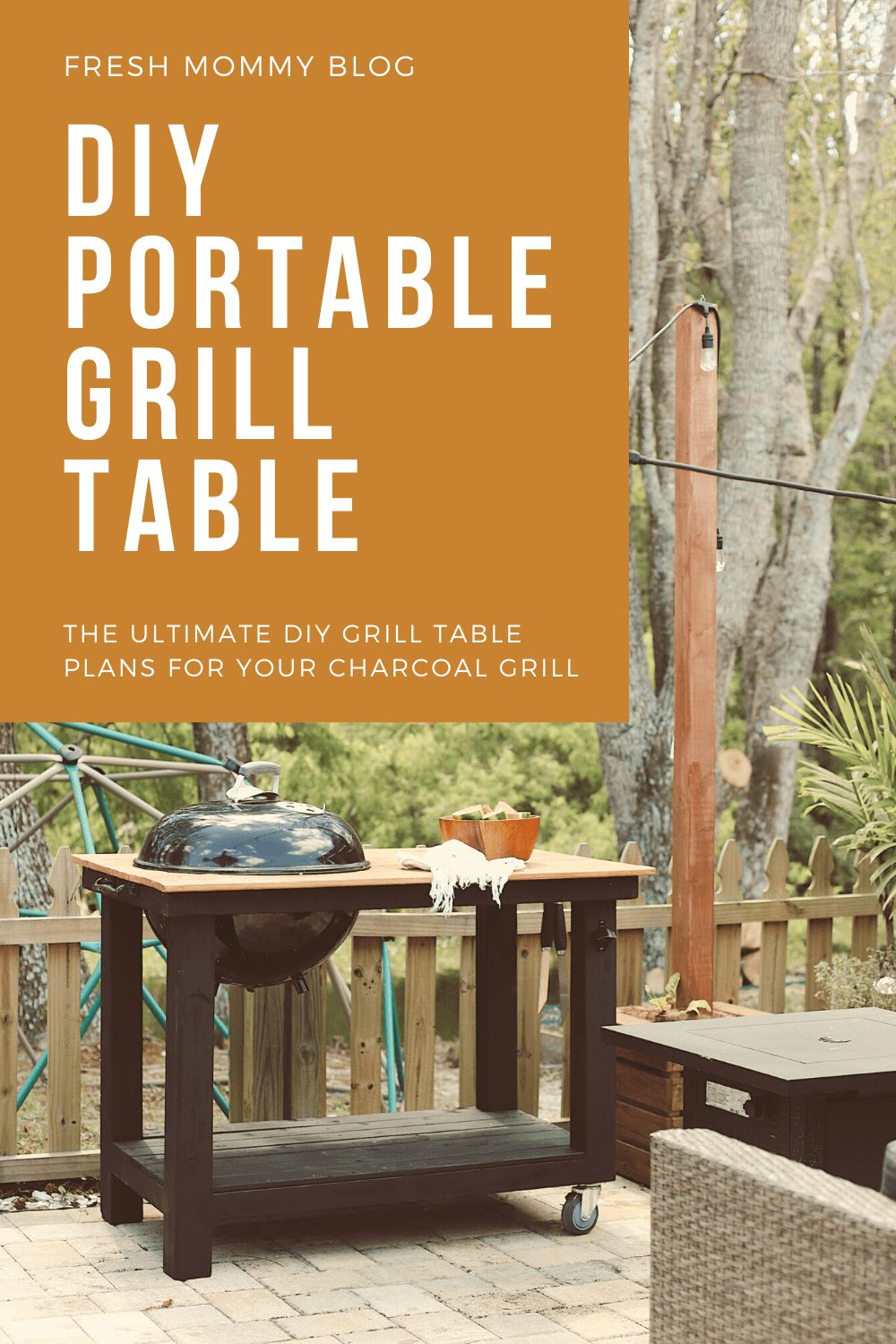 Click through for a grill cart DIY! A DIY grill table is an awesome way to give your outdoor living space an added touch of luxury. And since you are making your DIY BBQ grill you can customize your grill table plans, just the way you want it, so your DIY grill table works best for the way your family lives. Grill table ideas! | DIY BBQ Table by popular Florida lifestyle blog, Fresh Mommy Blog: Pinterest image of DIY BBQ Table.