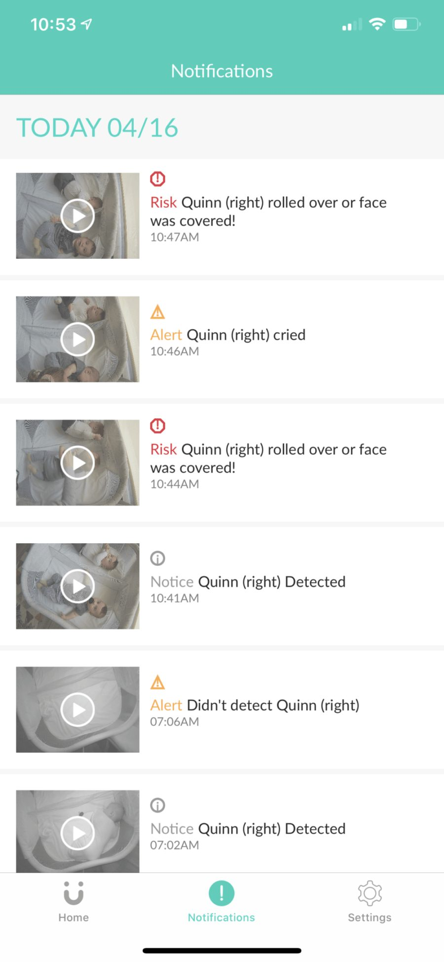 Best Baby Monitor by popular Florida motherhood blog, Fresh Mommy Blog: image of the Cubo Ai app notifications screen.