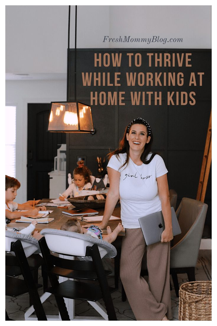 How to Survive Working With Kids at Home | Working From Home With Kids by popular Florida lifestyle blog, Fresh Mommy Blog: Pinterest image of a mom standing at a table with her kids while they do their homeschooling work.