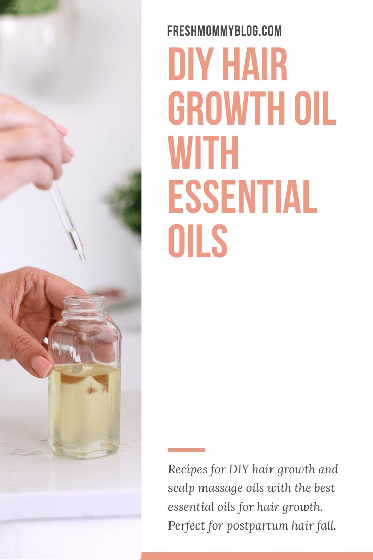DIY Hair Growth Oil with Essential Oils Perfect for Postpartum Hair Fall. This healthy DIY scalp oil for hair growth is loaded with essential oils that boast anti-inflammatory and anti-bacterial properties that help in combating hair fall, stimulating the scalp for growth and more. |  DIY Hair Growth Oil by popular Florida beauty blog, Fresh Mommy Blog: Pinterest image of a woman holding a glass bottle of DIY hair growth oil.