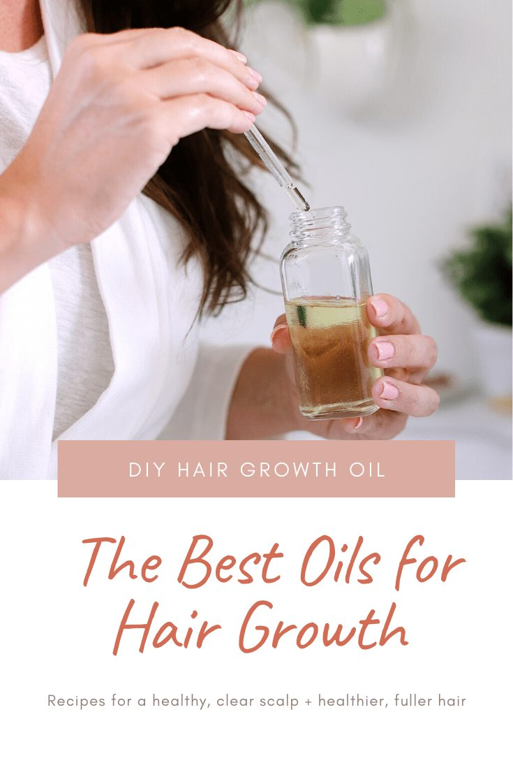 DIY Hair Growth Oil with Essential Oils Perfect for Postpartum Hair Fall. This healthy DIY scalp oil for hair growth is loaded with essential oils that boast anti-inflammatory and anti-bacterial properties that help in combating hair fall, stimulating the scalp for growth and more. | DIY Hair Growth Oil by popular Florida beauty blog, Fresh Mommy Blog: image of a woman holding a dropper filled with DIY hair growth oil.