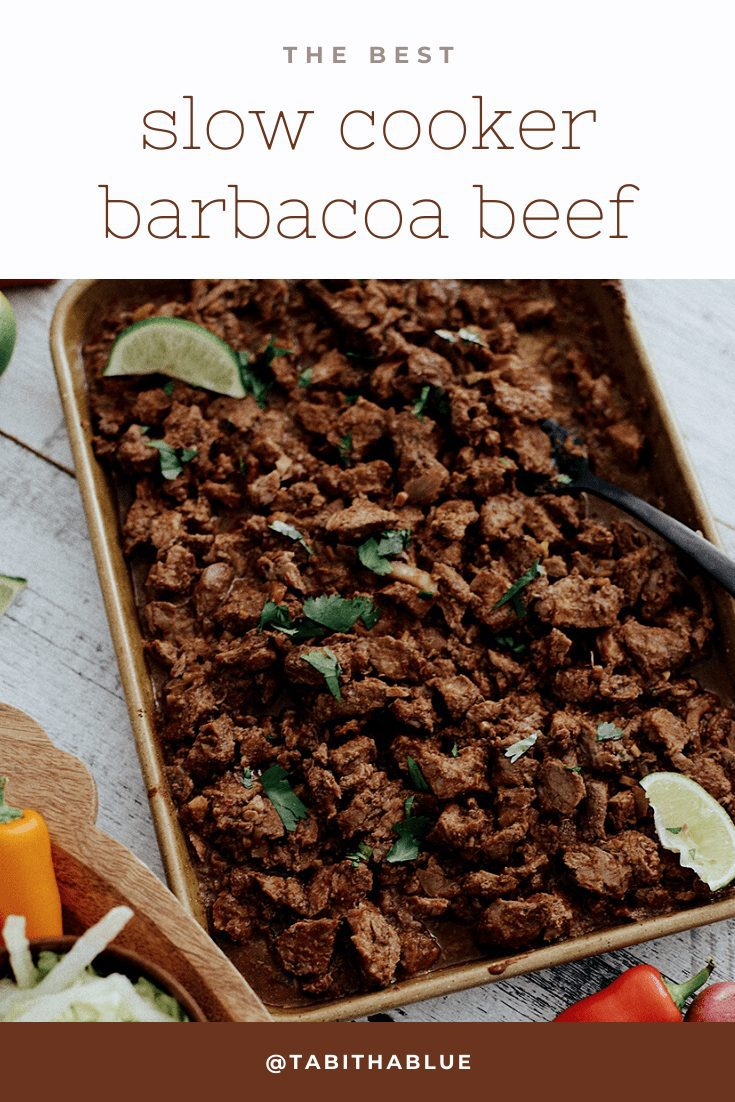 Easy Weeknight Crockpot Meals: Slow Cooker Barbacoa Beef Tacos    Omaha Steaks by popular Florida lifestyle blog, Fresh Mommy Blog: Pinterest image of a pan of barbacoa beef next to a wooden serving tray with sliced radishes, tortillas, bell peppers, and chopped lettuce.