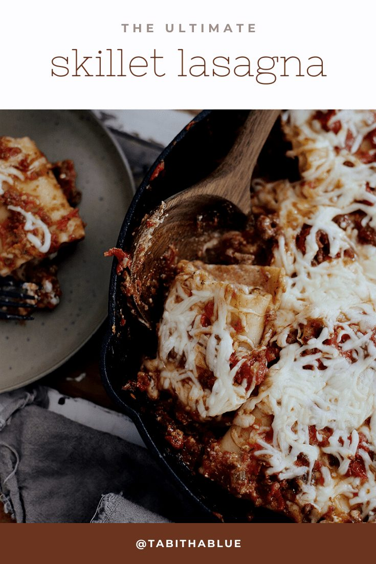 The Ultimate Cast Iron Lasagna with this lodge cast iron recipe from top Florida lifestyle blogger Tabitha Blue of Fresh Mommy Blog! Cast iron skillet cooking with kids to get family dinner on the table in 30 minutes! | Cast Iron Lasagna by popular Florida lifestyle blog, Fresh Mommy Blog: Pinterest image of cast iron lasagna.