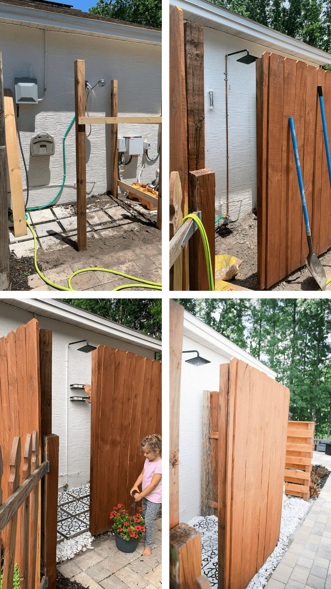 DIY Outdoor Shower Ideas on a Budget for the Ultimate Backyard Oasis   DIY Outdoor Shower by popular Florida DIY blog, Fresh Mommy Blog: before and after image of a DIY outdoor shower.