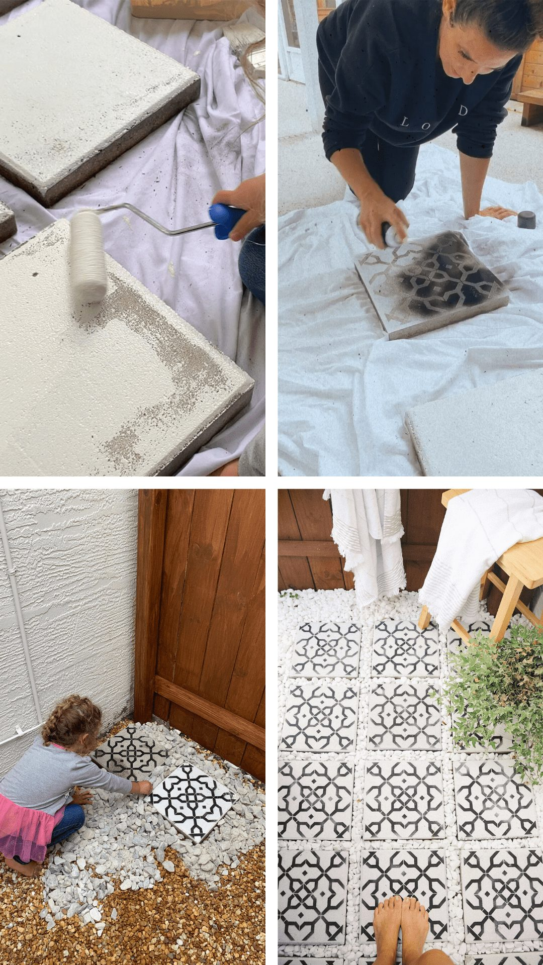 DIY Outdoor Shower Ideas on a Budget for the Ultimate Backyard Oasis   DIY Outdoor Shower by popular Florida DIY blog, Fresh Mommy Blog: image of Tabitha Blue painting cement cinderblocks black and white.