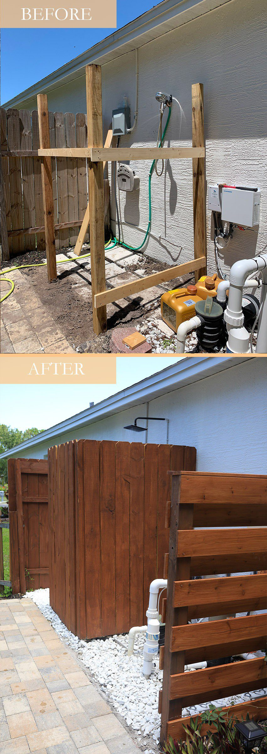 DIY Outdoor Shower Ideas on a Budget for the Ultimate Backyard Oasis Before and After   DIY Outdoor Shower by popular Florida DIY blog, Fresh Mommy Blog: Before and After image of a DIY outdoor shower.