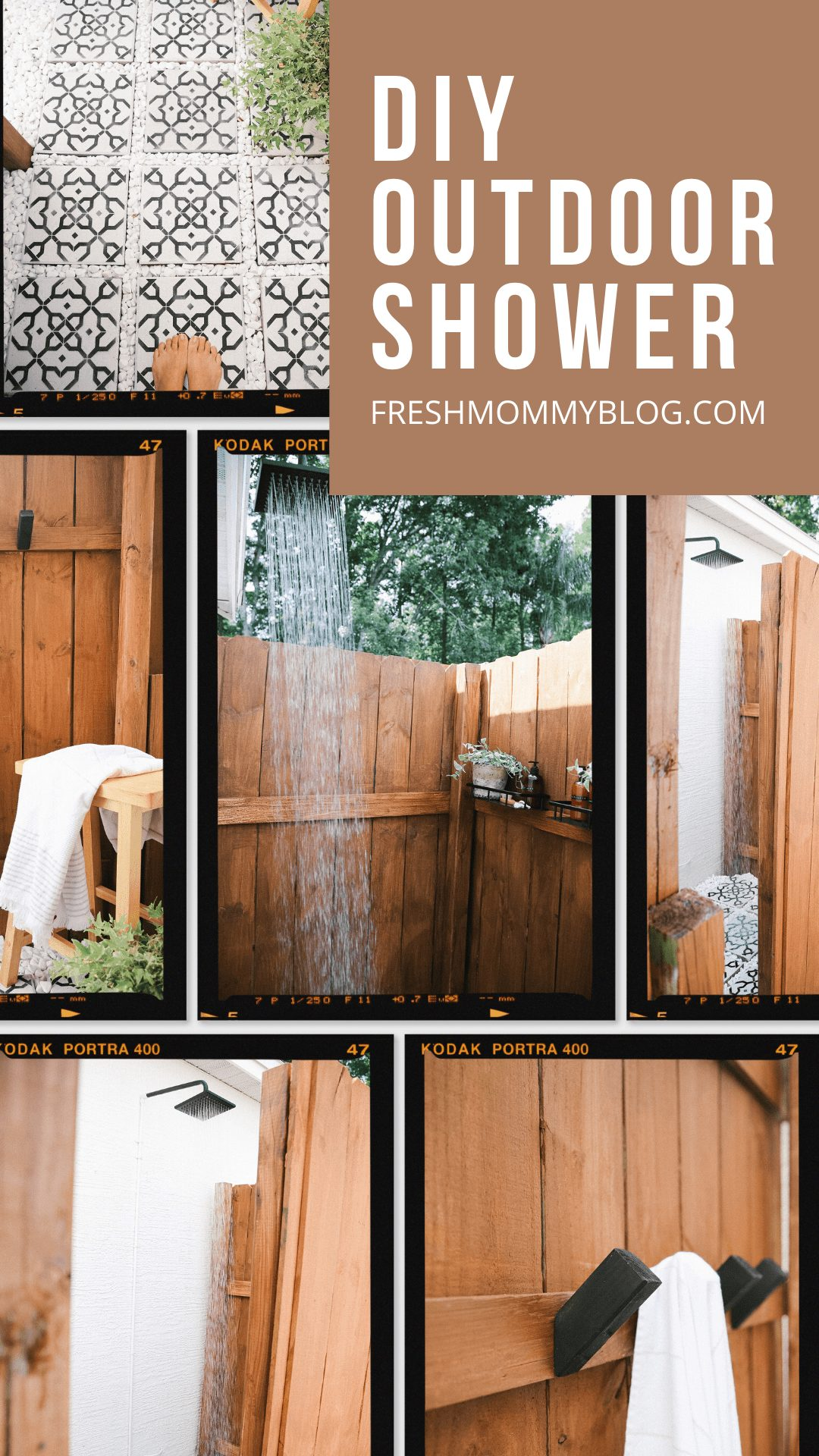 DIY Outdoor Shower Ideas on a Budget for the Ultimate Backyard Oasis   DIY Outdoor Shower by popular Florida DIY blog, Fresh Mommy Blog: Pinterest image of a DIY outdoor shower.