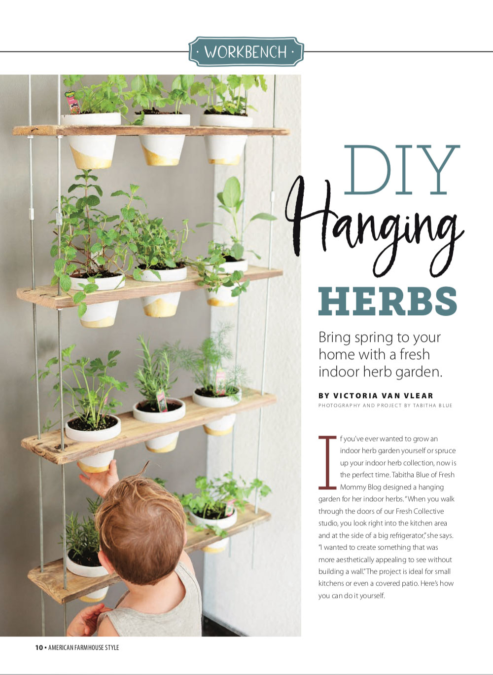 DIY Hanging Herb Garden featured in American Farmhouse