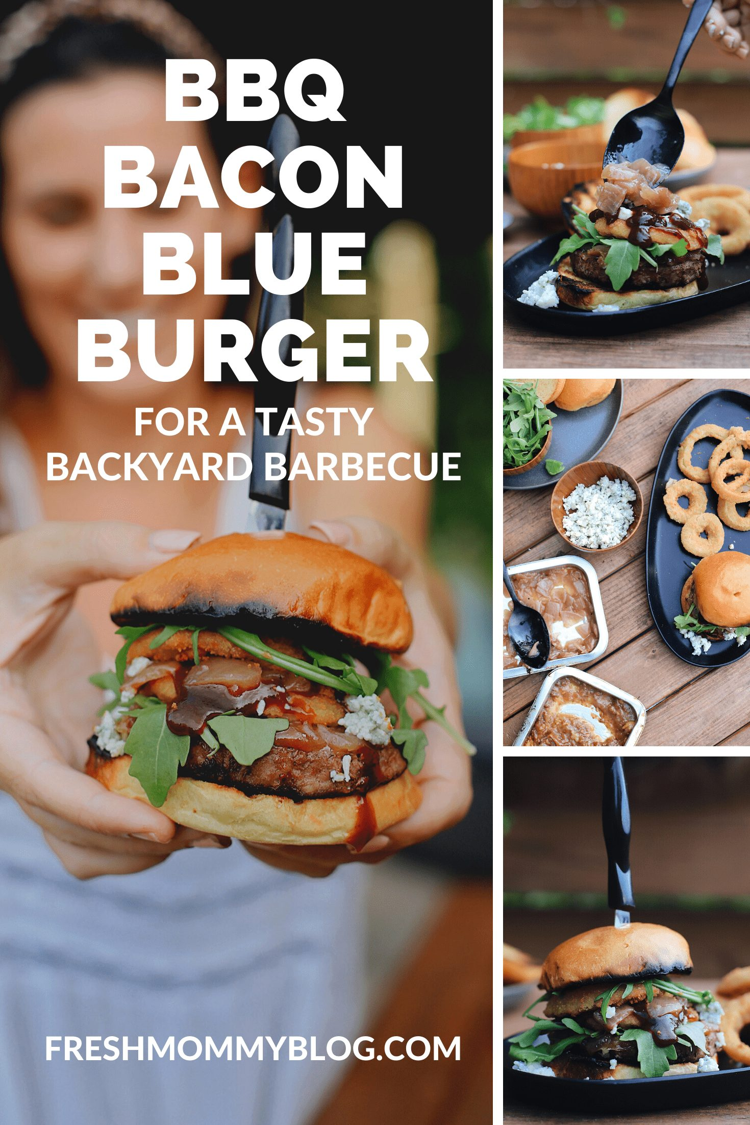 BBQ Bacon Blue Burger for a Tasty Backyard Barbecue. Not your average burger! Juicy beef burgers seasoned with a the perfect amount of spice, topped with smoked bacon jam, sweet bourbon onions, arugula, blue cheese, onion rings, BBQ sauce and a buttery grilled bun! | BBQ Burger by popular Florida lifestyle blog, Fresh Mommy Blog: Pinterest image of a BBQ Burger with bacon and blue cheese.