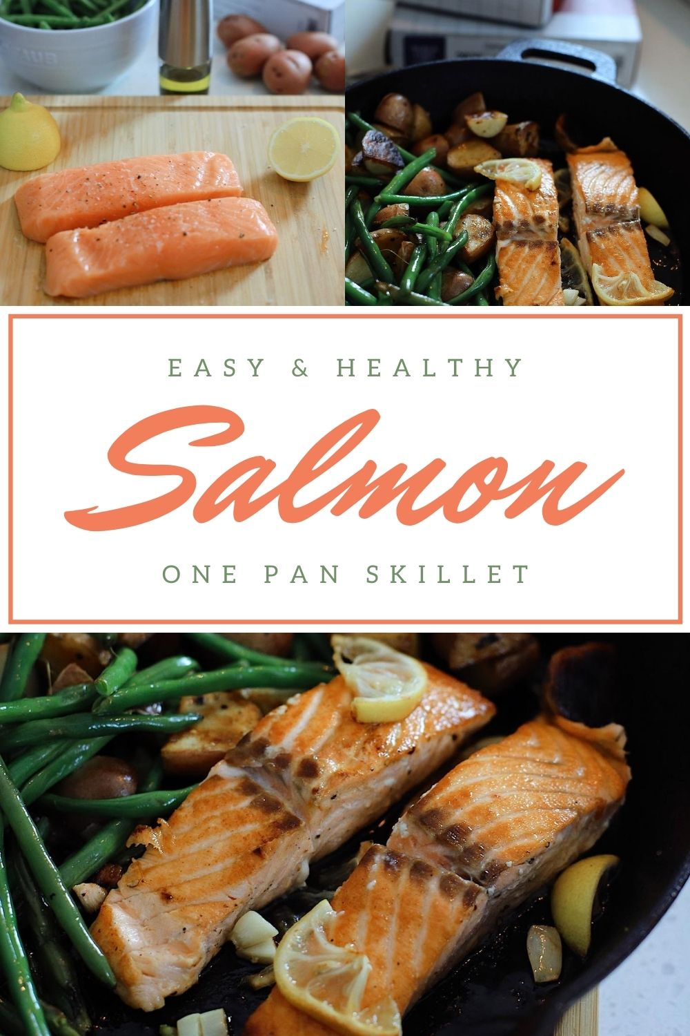 One Pan Salmon Skillet with Garlic Lemon Butter | Salmon Skillet by possible Florida lifestyle blog, Fresh Mommy Blog: Pinterest image of salmon, green beans, and potatoes in a skillet.