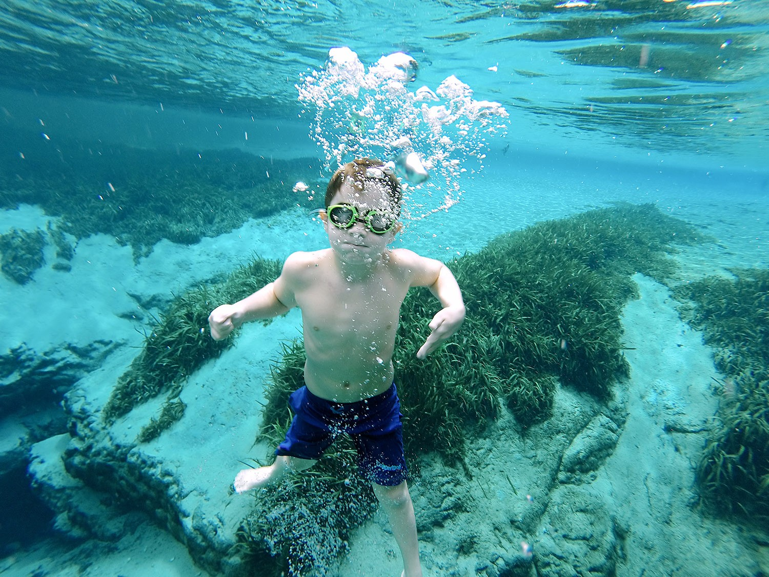 Spectacular Lake County, Florida Staycation Ideas for the Family! Underwater caverns at Alexander Springs Recreation Area in Florida   Lake County by popular Florida blog, Fresh Mommy Blog: image of a boy swimming under water at Alexander Springs Recreation Area.