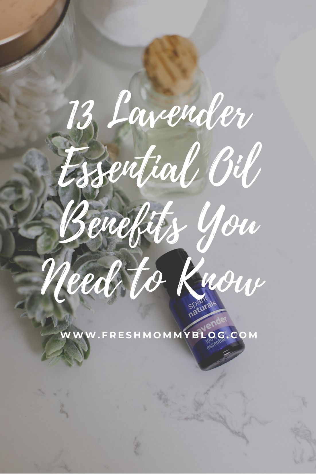 13 Spectacular Lavender Essential Oil Benefits You Need to Know About from Top US Lifestyle Blogger Tabitha Blue of Fresh Mommy Blog.   Lavender Essential Oil by popular Florida lifestyle blog, Fresh Mommy Blog: Pinterest image of Spark Naturals lavender essential oil.