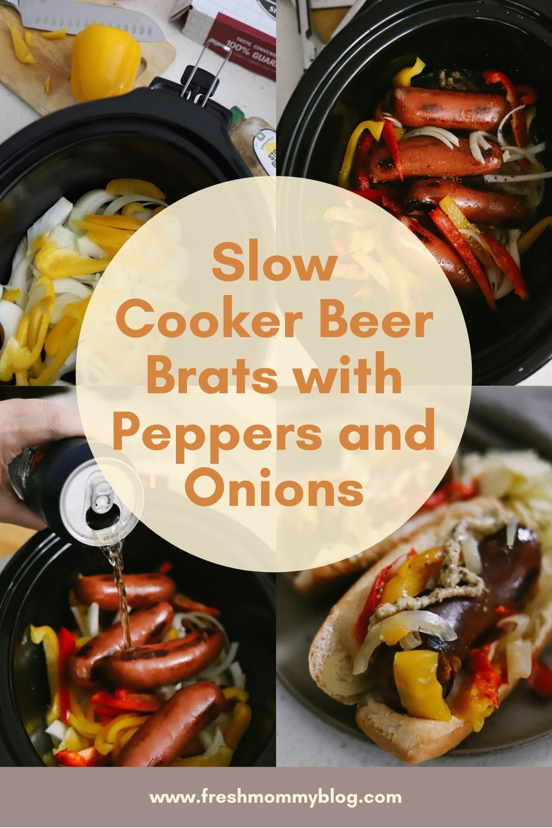 Whether it's game day or just a simple crockpot meal for easy weeknight eating, these Slow Cooker Beer Brats are a tasty winner! Slow-cooked for one of the most flavorful, juicy brats you've ever had and perfect on top of a bun, sliced over noodles, or eaten all on its own.
