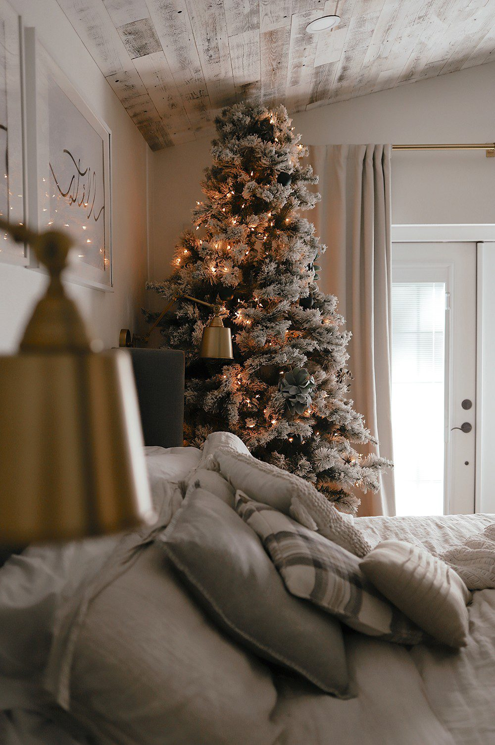 Bedroom Christmas Tree next to the bed_ Tabitha Blue of Fresh Mommy Blog