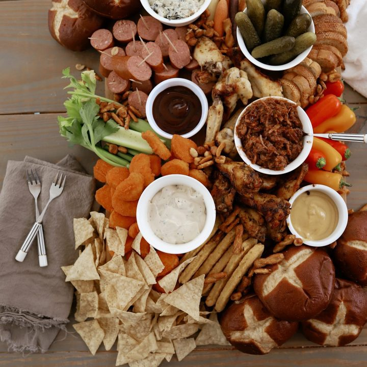 GAME DAY CHARCUTERIE BOARD with all of your favorite sports bar foods! This covers all of the game day appetizer ideas you'll need.