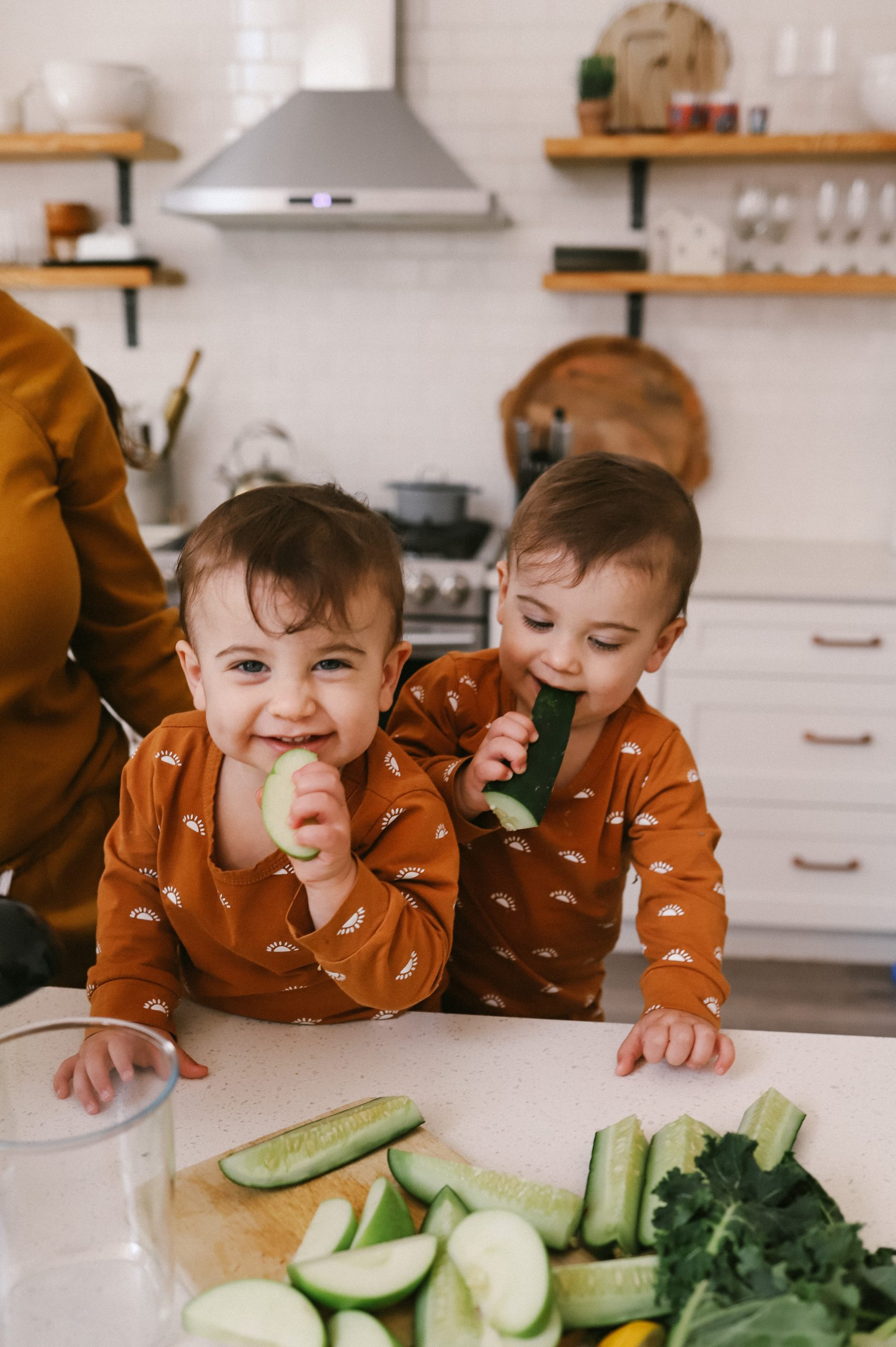 We tested the best easy clean juicers and this is what we found.  Easy Clean Juicer by popular Florida lifestyle blog, Fresh Mommy Blog: image of twin baby boys eating some cucumber spears.