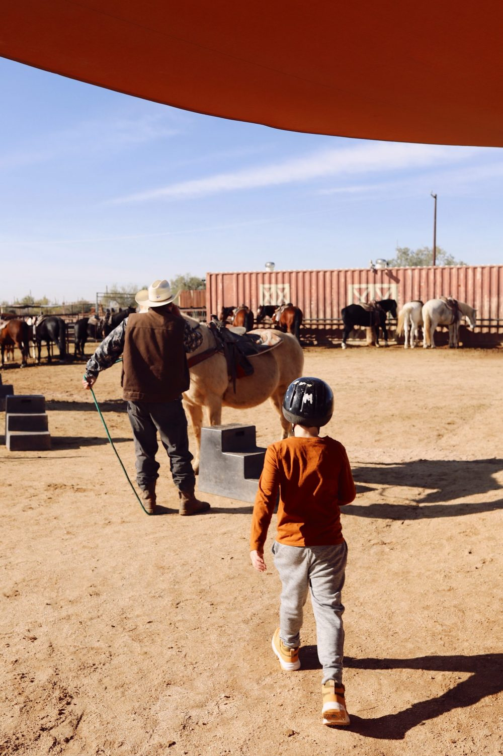 One of the Best Secret Winter Sun Destinations, Scottsdale Arizona. Horseback riding in the desert and family-friendly activities at MacDonald's Ranch. |Guide by popular Florida travel blog, Fresh Mommy Blog: image of a little boy walking over to a horse.