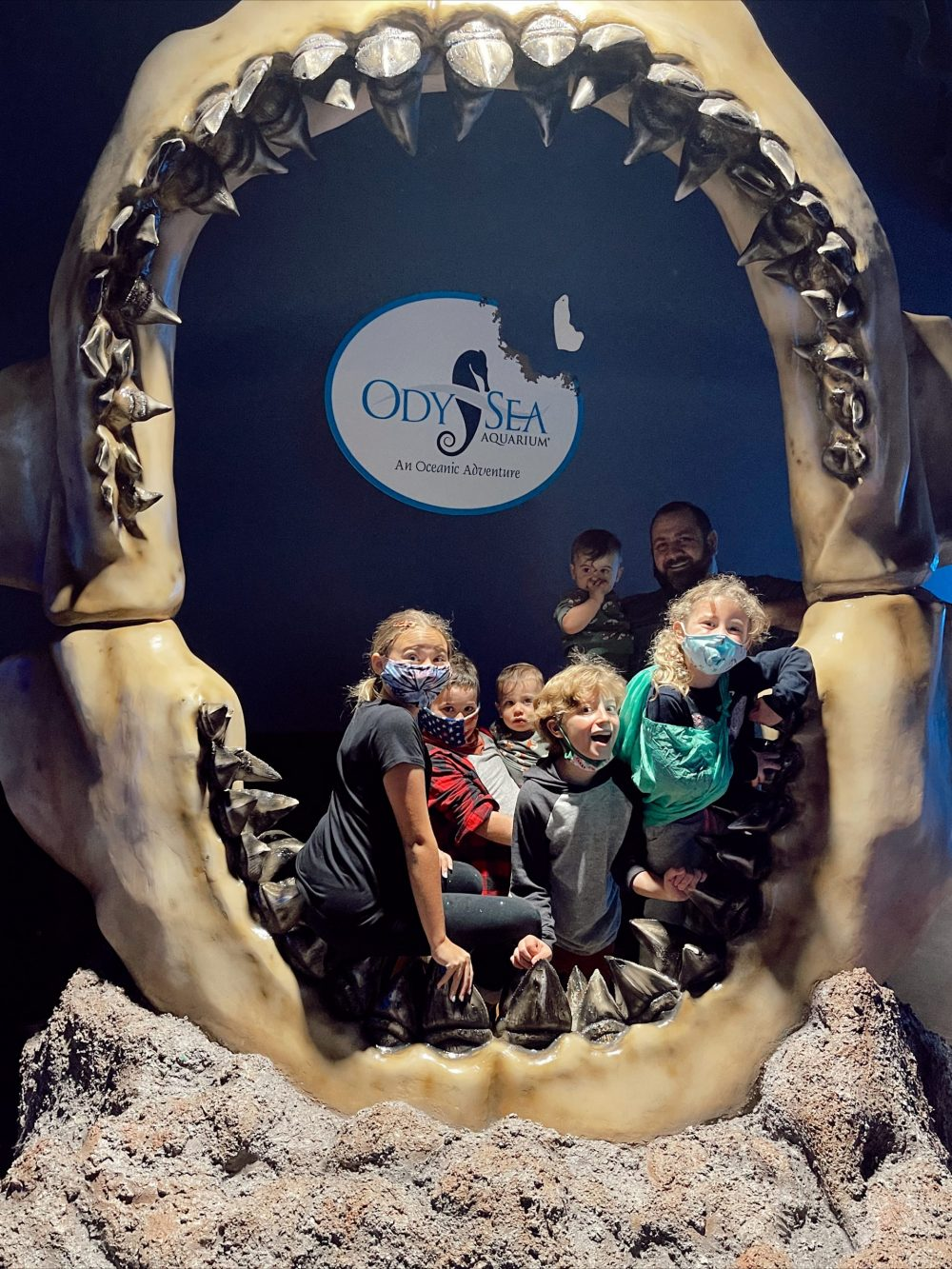 One of the Best Year Round Sun Destinations for Large Family Friendly Travel, Scottsdale Arizona. Holiday Winter Fun at Odysea aquarium at Arizona Boardwalk. |Guide by popular Florida travel blog, Fresh Mommy Blog: image of a family at the Odysea Aquarium.
