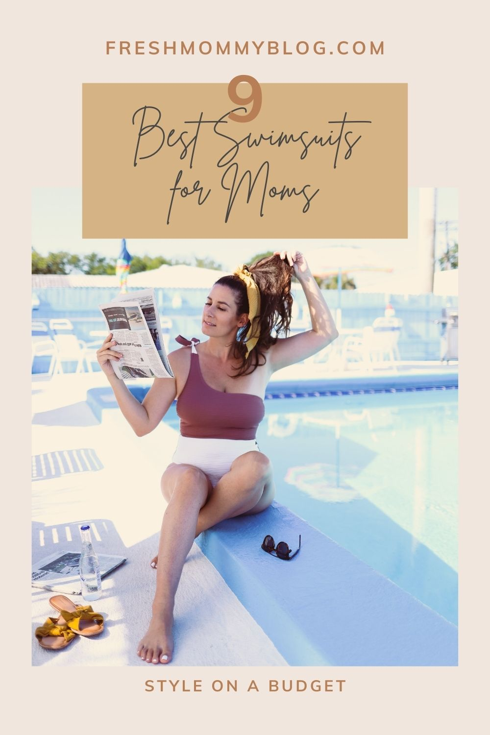 Swimsuits for Moms by popular Florida fashion blog, Fresh Mommy Blog: Pinterest image of a woman sitting outside next to the Palm Court motel swimming pool and wearing a two tone one piece swimsuit.