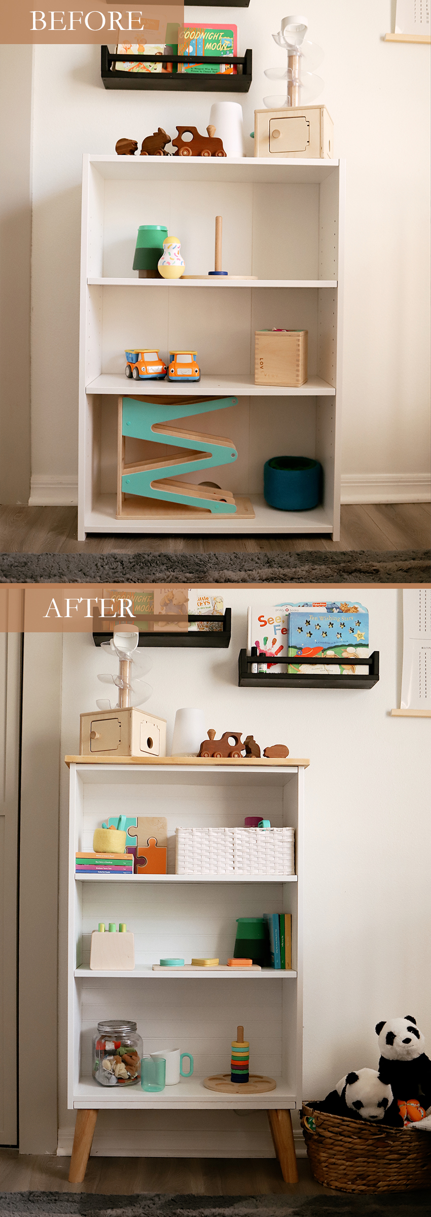 How to Upcycle your Cheap Bookcase into Stylish Mid Century Shelves: a Step by Step Tutorial featured by top FL DIY blogger, Tabitha Blue of Fresh Mommy Blog