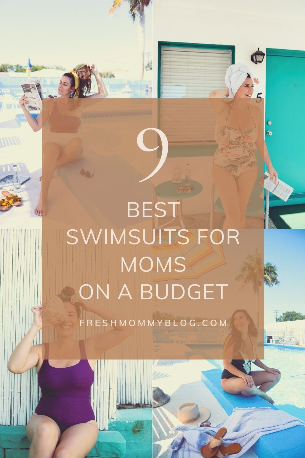 Swimsuits for Moms by popular Florida fashion blog, Fresh Mommy Blog: Pinterest image of a woman wearing various one piece swimsuits.