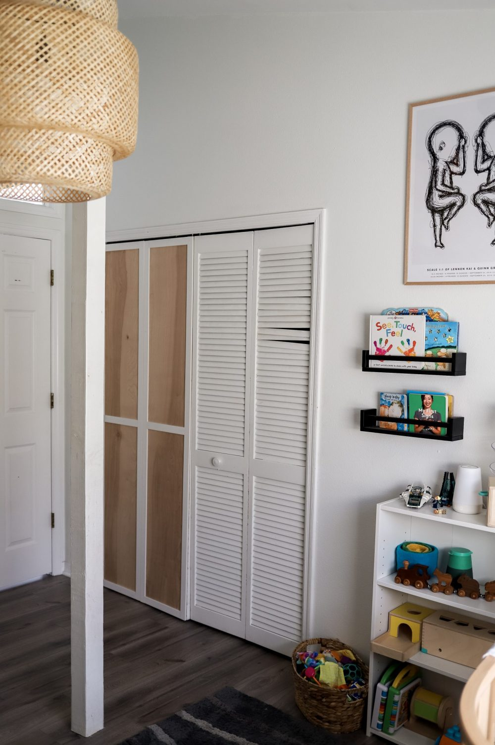 BEFORE. Home Refresh Ideas: DIY Closet Door Upgrade Tutorial. How to update Bi-fold closet doors on a budget. Easy how-to for updating old bifold closet doors and save money (save the hundreds it would cost to replace them!). |DIY Closet Door by popular Florida lifestyle blog, Fresh Mommy Blog: before image of bifold closet doors.
