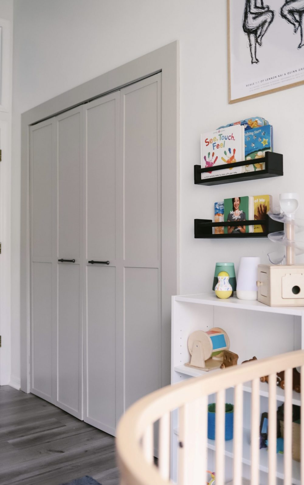 Home Refresh Ideas: DIY Closet Door Upgrade Tutorial. How to update Bi-fold closet doors on a budget. Easy how-to for updating old bifold closet doors and save money (save the hundreds it would cost to replace them!). |DIY Closet Door by popular Florida lifestyle blog, Fresh Mommy Blog: before image of a updated bifold closet door.
