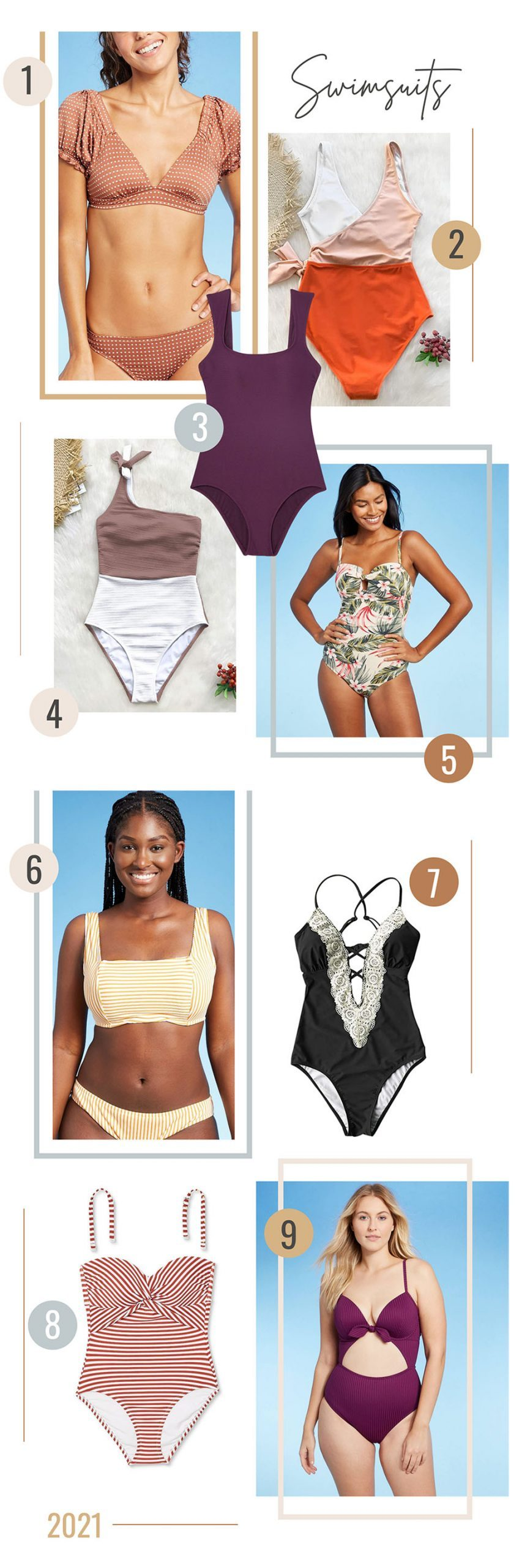 Style on a Budget: 9 Best Swimsuits for Moms   Swimsuits for Moms by popular Florida fashion blog, Fresh Mommy Blog: collage image of one piece and two piece swimsuits.